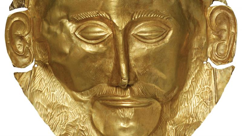 Mask of Agamemnon, done in gold