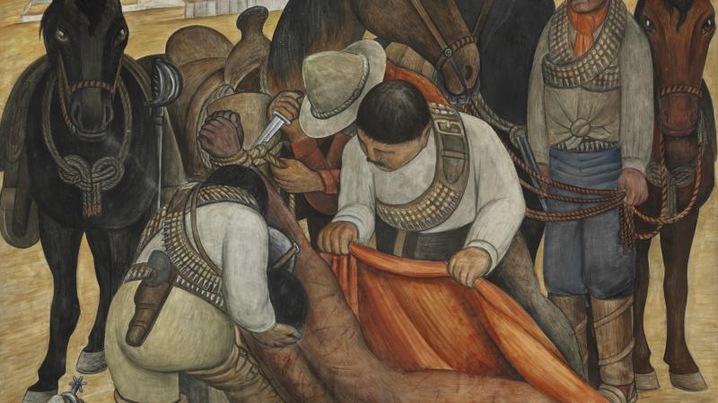 Liberation of the Peon, Diego Rivera, depicting three men picking up a naked figure off the ground, loading him onto horses