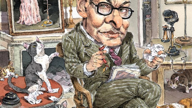 Illustration of T.S. Eliot by John Cuneo; the poet wears a green suit and glasses and is seated in a room with cats and crumpled papers