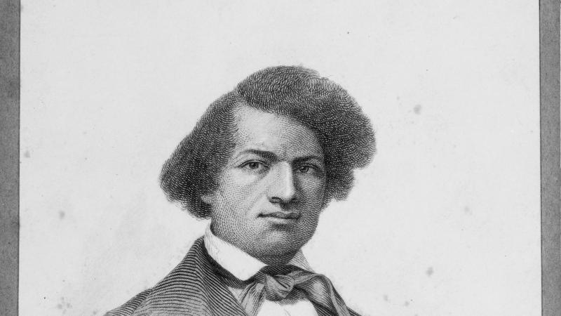 Black and white portrait of Frederick Douglass