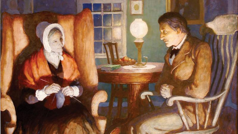 Painting of a woman knitting, sitting across from a man