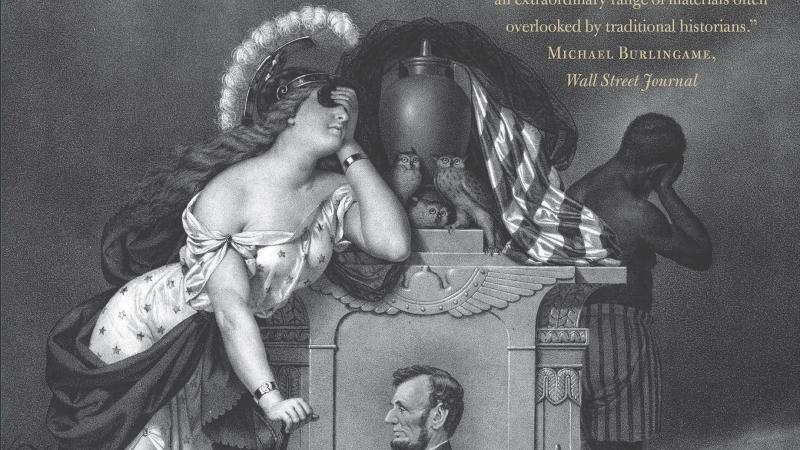 A black and white book cover design which shows a woman lamenting, among other figures.