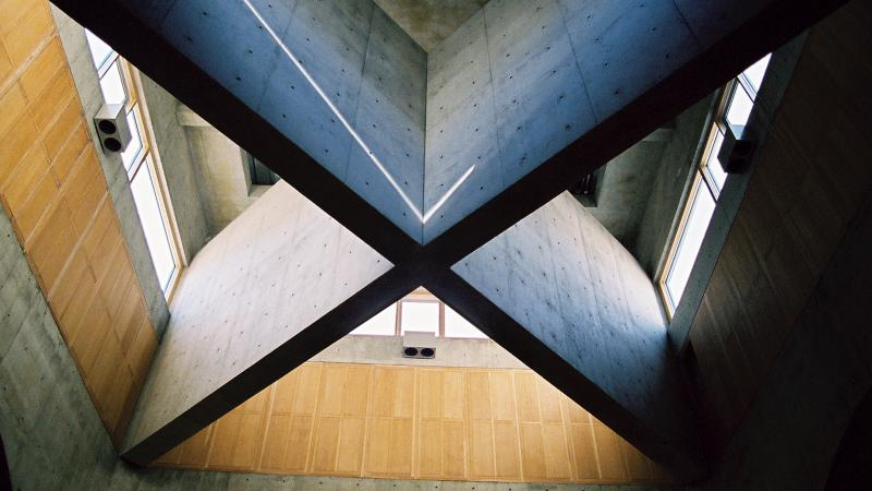 "Stylish crossbeams that make an ""X"" across a ceiling."