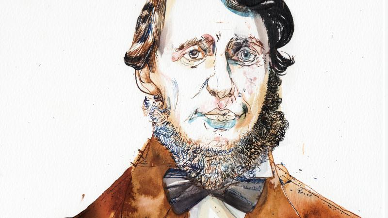 A color portrait of Henry David Thoreau