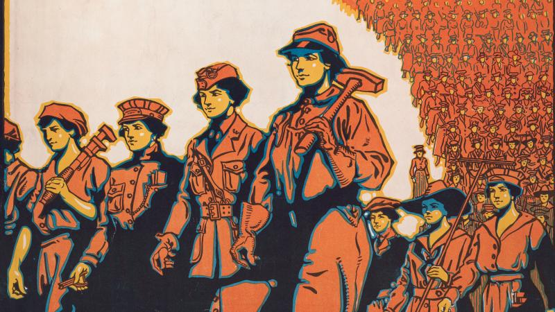 A colorful recruiting poster for World War I with women marching together