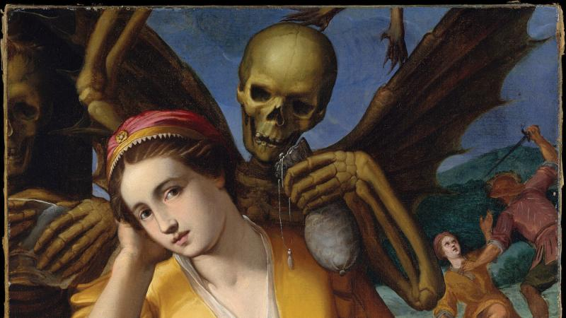 In Allegory of Avarice by Jacopo Ligozzi, avarice is represented as a woman holding a bag of money and flanked by images of death and murder.