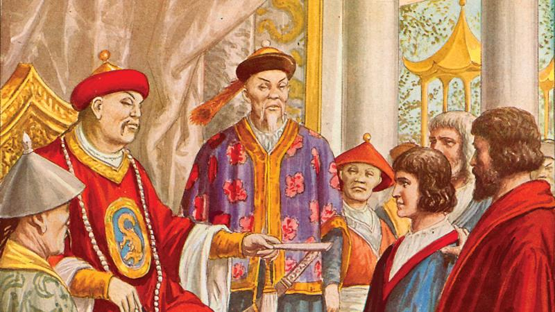 Marco Polo the younger being presented to Kublai Khan by Tancredi Scarpelli