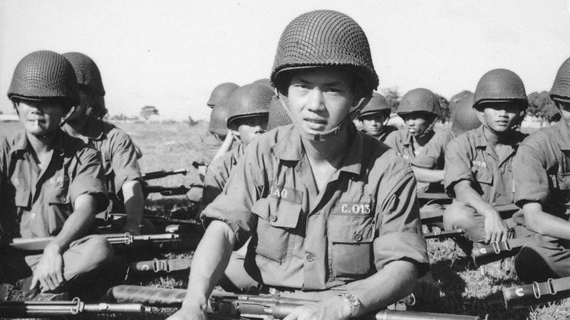 Black and white photo of soldiers of The Army of the Republic of Vietnam