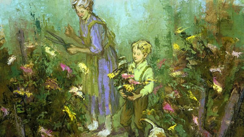 An illustration of Buddy and Sook cutting chrysanthemums in their garden
