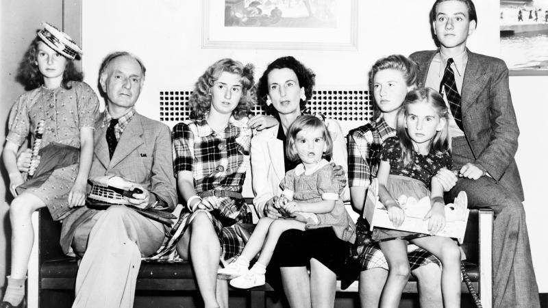 The Boyle-Vail family upon arrival in New York on the Pan America Clipper flight from Lisbon on July 14, 1941.