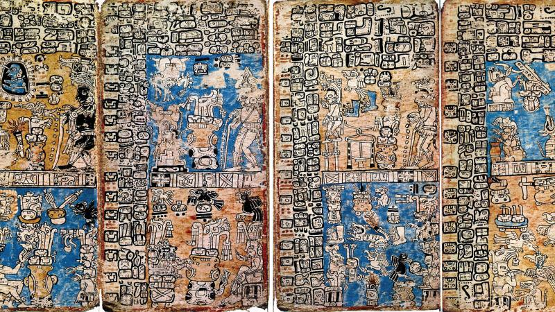 Photo of part of the madrid codex, which documents almanacs, depictions of human sacrifice, and more