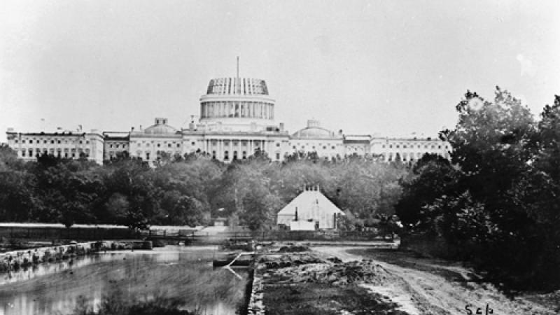 The U.S. Capitol under construction, 1860.
