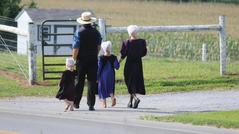 Photo of an Amish family walking down a road