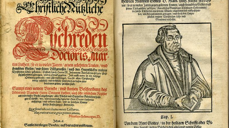 Title page and portrait from a 1581 edition of Martin Luther's writings in German.