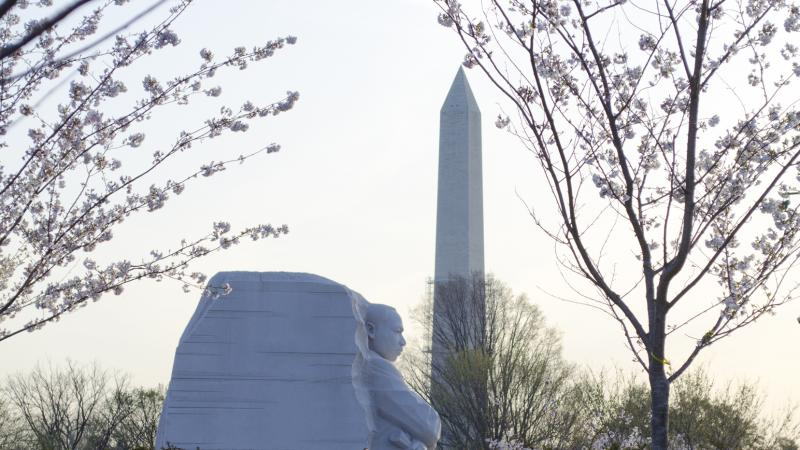 MLK memorial in foreground, Washington Monument in background