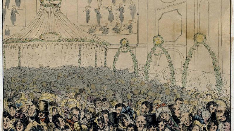 A postcard illustration of a theatre audience in London, 18-19th century