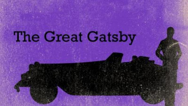 American Icons: The Great Gatsby header image, with silhouette of man in front of a car against a purple background