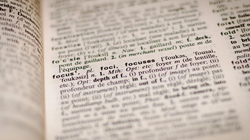 Close up view of a dictionary