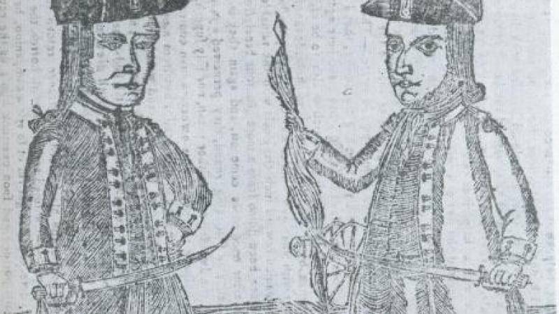 "Portraits of Daniel Shays and Job Shattuck, leaders of the ""Regulators,"" 1787"