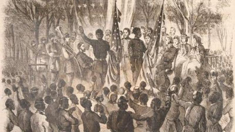 woodprint: Emancipation Day in South Carolina