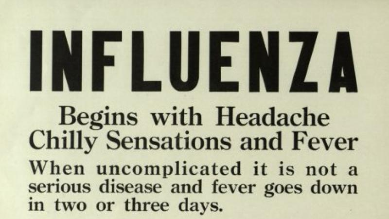 Influenza warning poster from Rochester, NY