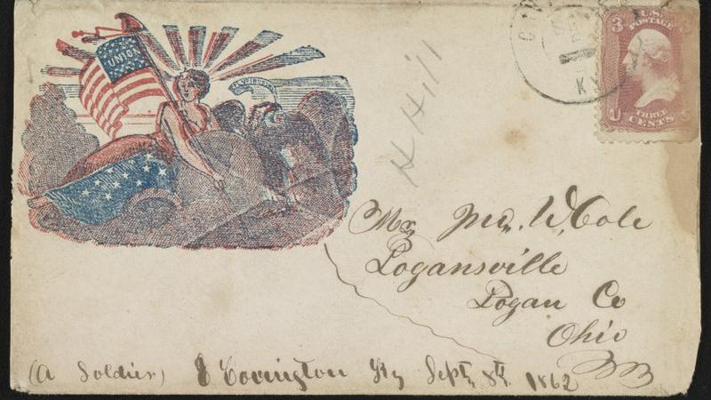 Aged envelope with Civil War postage and imagery