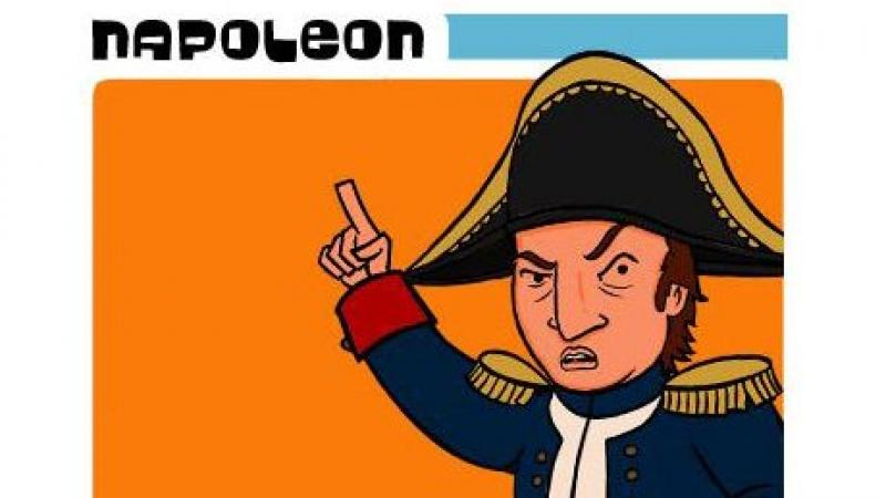 Cartoon image of Napoleon in a tri-cornered hat, pointing