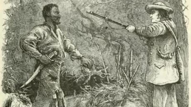 Discovery of Nat Turner, wood engraving: a soldier pointing a gun at Nat Turner