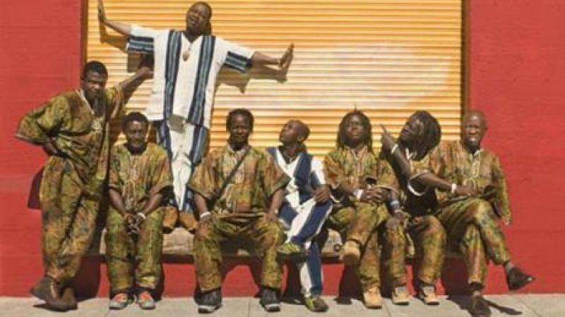 group photo of the Sierra Leone Refugee All-Stars, an afropop group