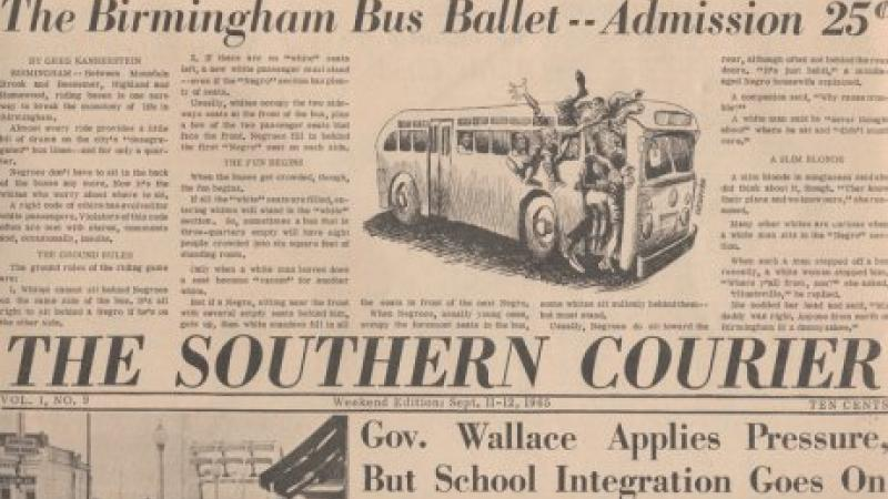 "A yellowed front page from a newspaper called ""The Southern Courier"""