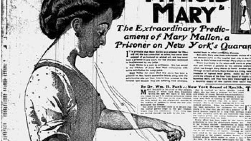 "Black and white illustration of Mary Mallon, ""Typhoid Mary,"" The New York American, 1909"