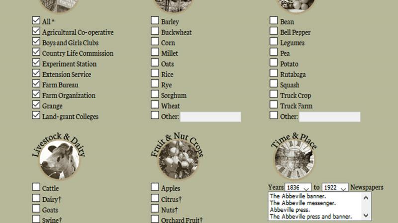Historical Agricultural News search page.