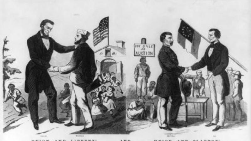 Black and white illustration of Abraham Lincoln endorsing abolition against his political opponent.