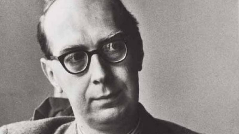 Black and white photo of Philip Larkin.
