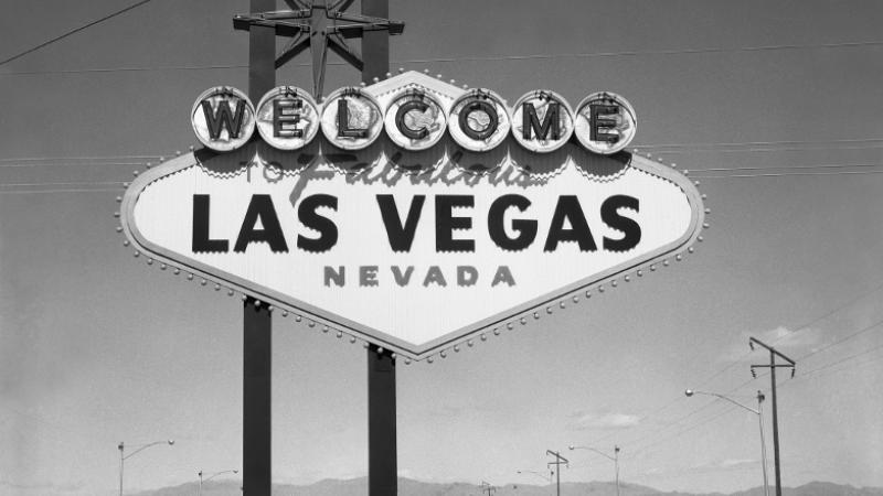 black and white photo of Las Vegas sign