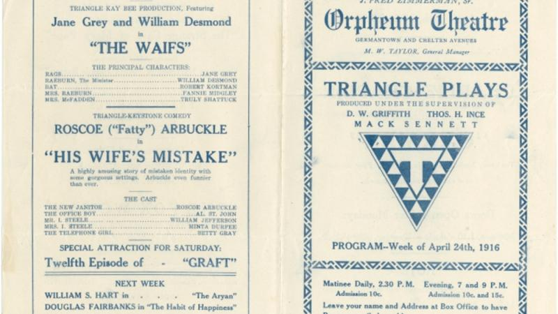 Program, Orpheum Theatre, Philadelphia, PA, 24 April 1916.