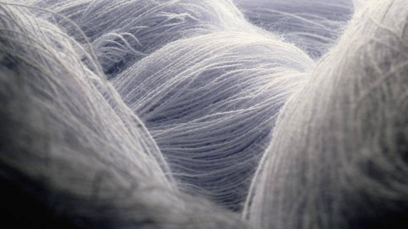 Close up of gray skeins of yarn