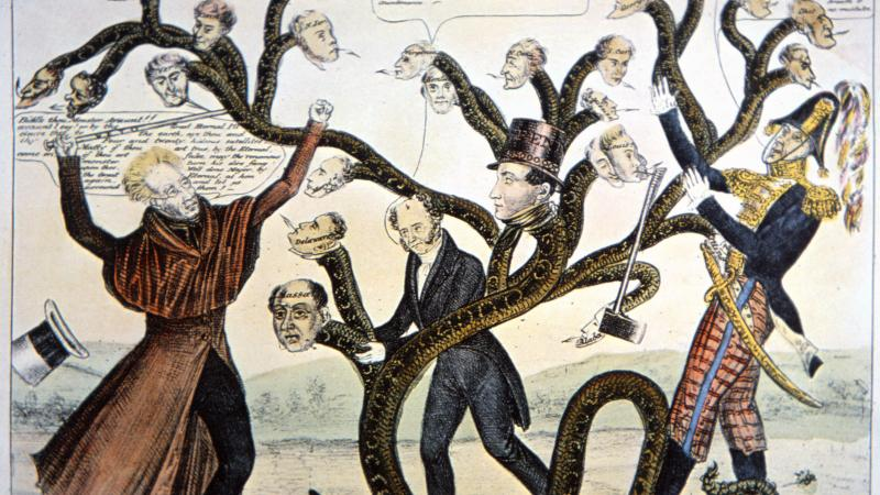 Political cartoon of Andrew Jackson battled a huge snake that has the heads of political opponents attached, while men, one in a black suit and the other in military dress, hold the snake