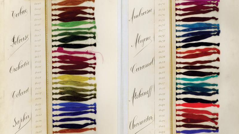 Two columns of a rainbow of colored thread bundles, each labeled with the name of their hue