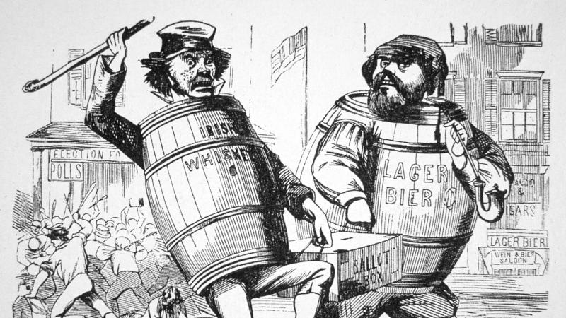 political cartoon of two men wearing barrels