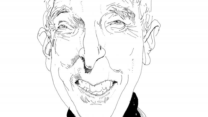 line drawing illustration of John Updike