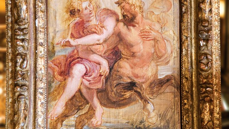 Oil painting of a satyr and a woman