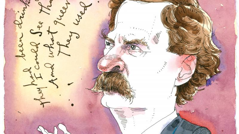 cartoon of Mark Twain standing and giving a toast