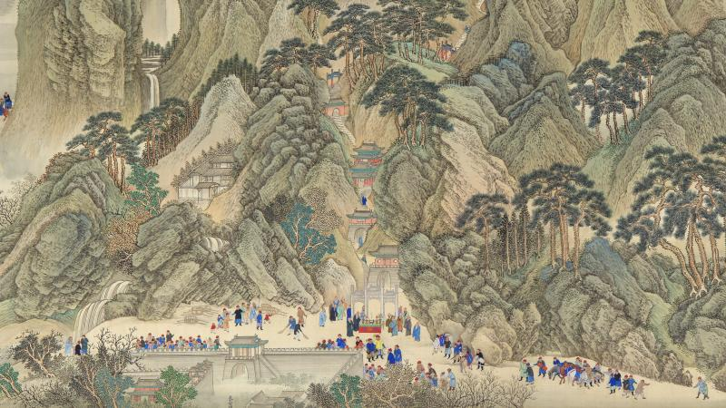 Illustration of green, tree covered mountains, dotted with small temples and houses, with people gathered at the base