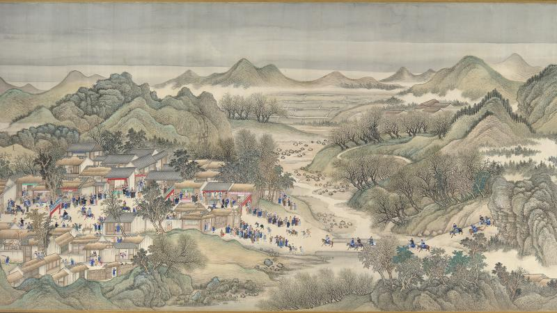 A cluster of houses on the far left is surrounded by hills, mist and trees; the townspeople gather in the main square while riders approach on a road from the right