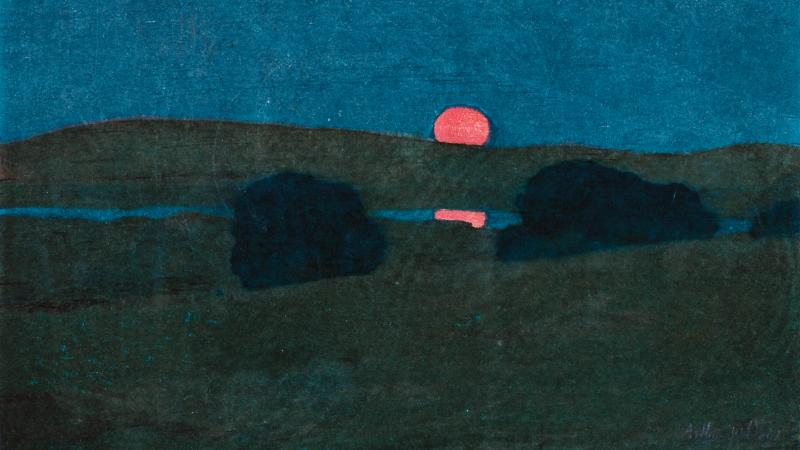 A red moon is partially obscured by a dark green hill; the moon is reflected in a body of water beneath the hill