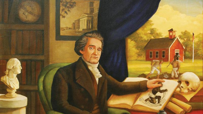 painting of a man sitting at a desk