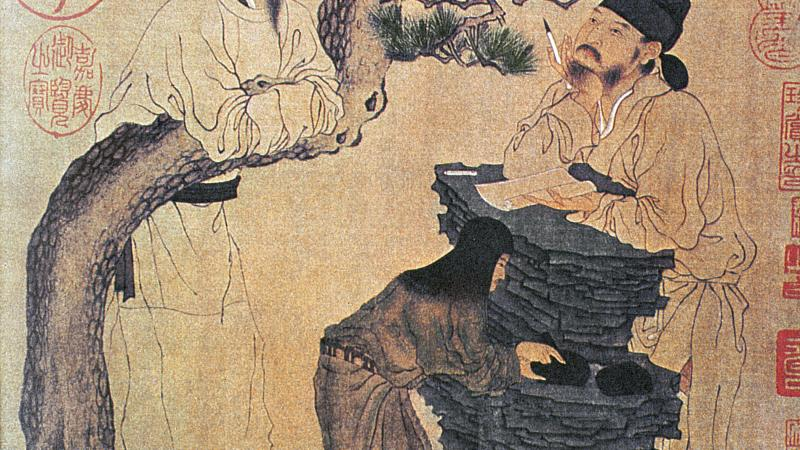 traditional Chinese drawing of two men talking