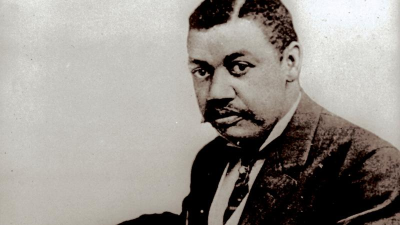 Portrait of African American man at desk
