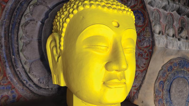 3-D digital reconstruction of Buddha's head sculpture
